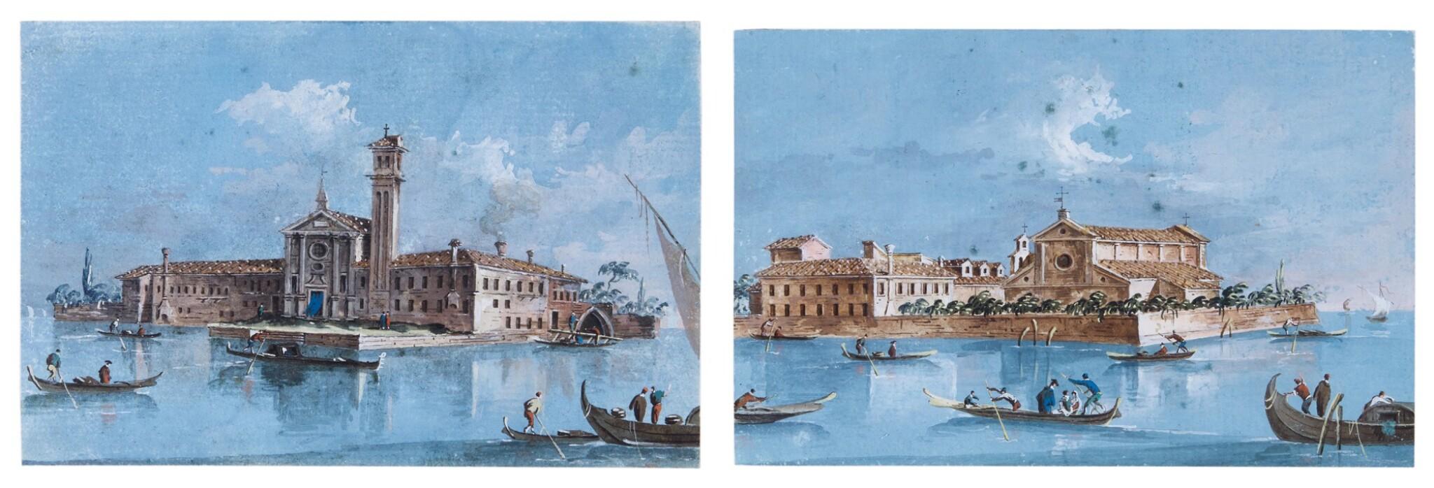 View full screen - View 1 of Lot 532. GIACOMO GUARDI | Two views of Venice: A) Isola di San Mattia di Murano  B) Isola si San Lazzaro degli Armeni.