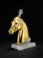 TWO GOLD AND GEM SET HORSE HEAD SCULPTURES, 'LAKSHMI' AND 'INDRA', HERBERT HASELTINE, 1949