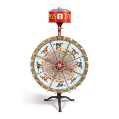 FINE AND RARE 'HORSE RACING' GAMING WHEEL, EVANS & CO., CHICAGO, ILLINOIS, 20TH CENTURY