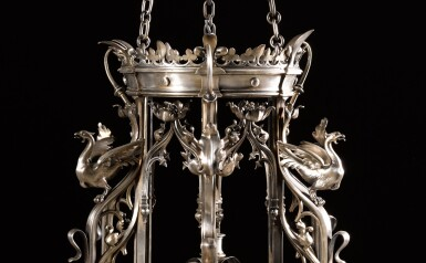 View 3. Thumbnail of Lot 130. A pair of French neo-gothic silvered bronze seven-light lanterns, late 19th century, attributed to Emile Froment Meurice.
