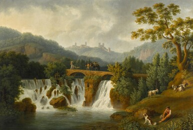 View 1. Thumbnail of Lot 201. A capriccio view of the Canneto river valley at Cava de' Tirreni near Vietri with figures crossing a bridge over waterfalls.