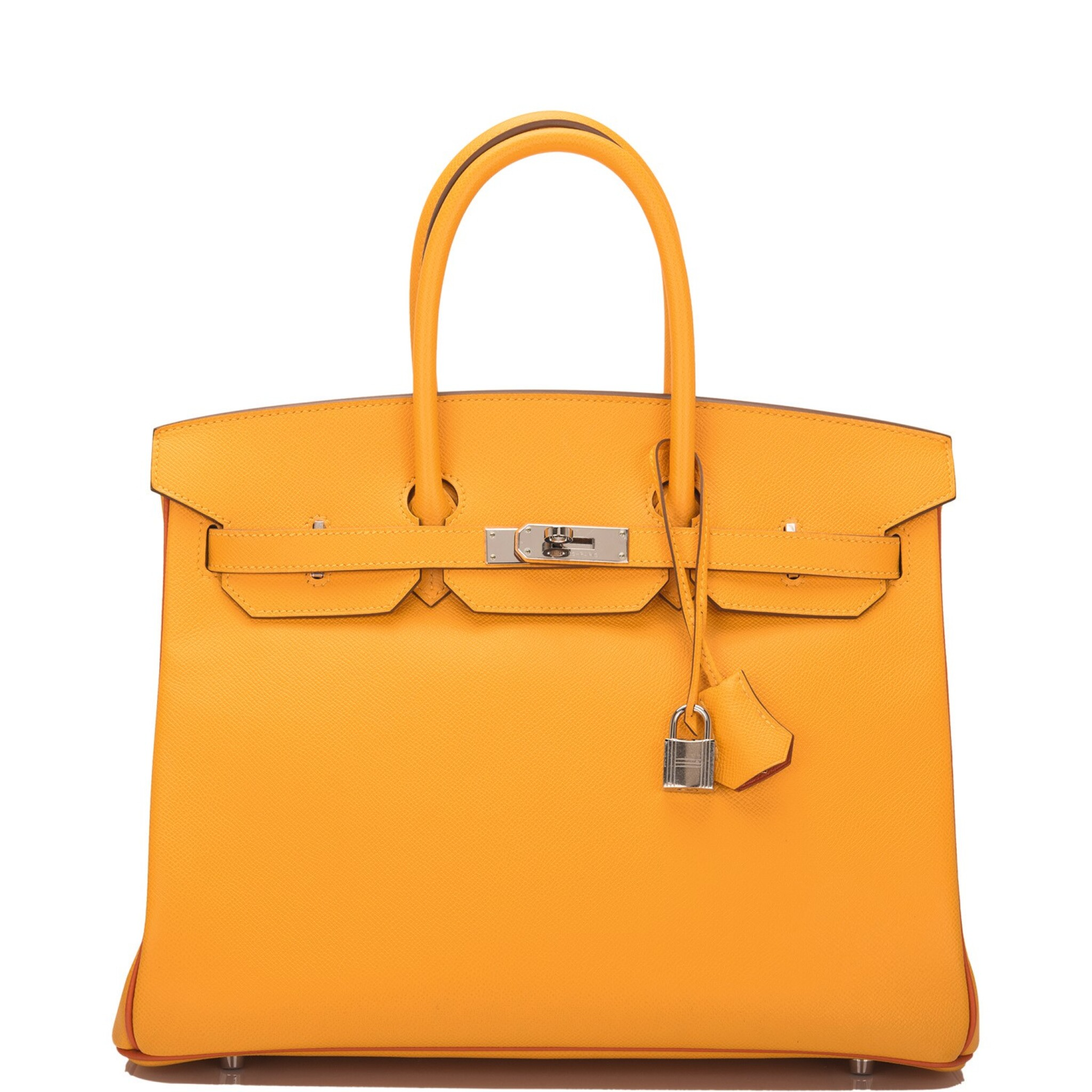 View full screen - View 1 of Lot 15. Hermès Horseshoe Stamped (HSS) Bi-color Jaune D'Or and Sanguine Birkin 35cm of Epsom Leather with Palladium Hardware.