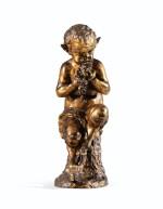 A GOLD PATINATED BRONZE SITTING FAUN, 19TH CENTURY | JEUNE FAUNE ASSIS EN BRONZE À PATINE DORÉE, TRAVAIL FRANÇAIS DU XIXÈME SIÈCLE