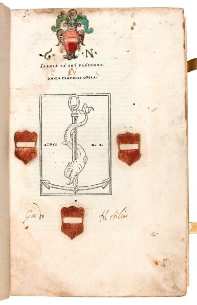 View 3. Thumbnail of Lot 6. Plato. Omnia Platonis opera. Venice, Aldus, 1513. modern pigskin, the Garden copy.