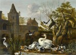 DIRCK WIJNTRACK   A CASTLE MOAT WITH A SWAN, VARIOUS DUCKS AND A HERON IN THE FOREGROUND, AND A MAGPIE IN A TREE