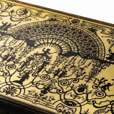 View 5. Thumbnail of Lot 23. A LOUIS XIV EBONY, TORTOISESHELL AND BRASS MARQUETRY BUREAU   BUREAU EN PLACAGE D'ÉBÈNE, ÉCAILLE BRUNE ET LAITON MARQUETÉS EN CONTREPARTIE D'ÉPOQUE LOUIS XIV.