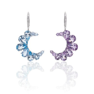 View 1. Thumbnail of Lot 14. PAIR OF AMETHYST, BLUE TOPAZ AND DIAMOND EARRINGS, MICHELE DELLA VALLE.