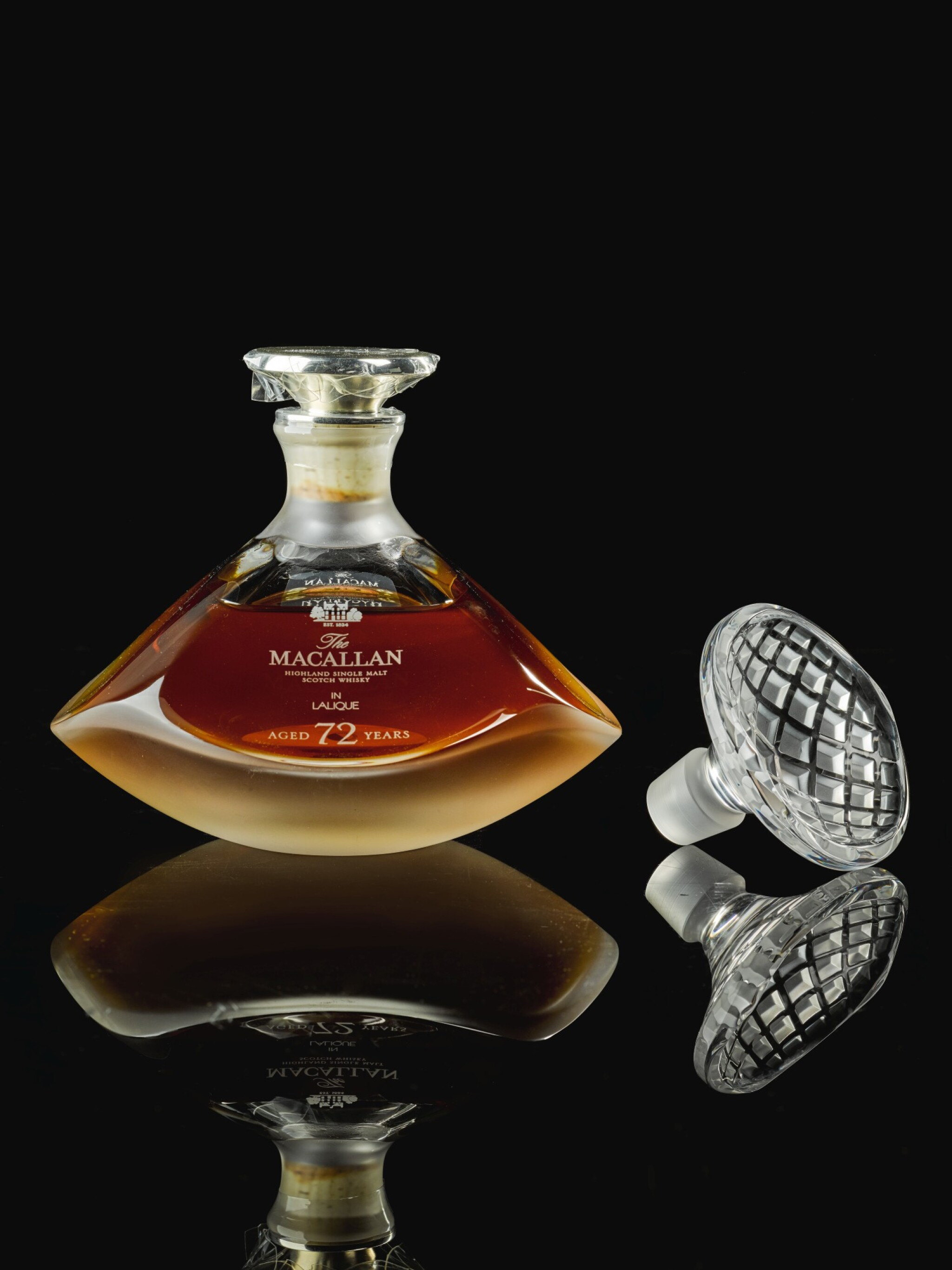View full screen - View 1 of Lot 21. The Macallan In Lalique Genesis Decanter 72 Year Old 42.0 abv NV  .