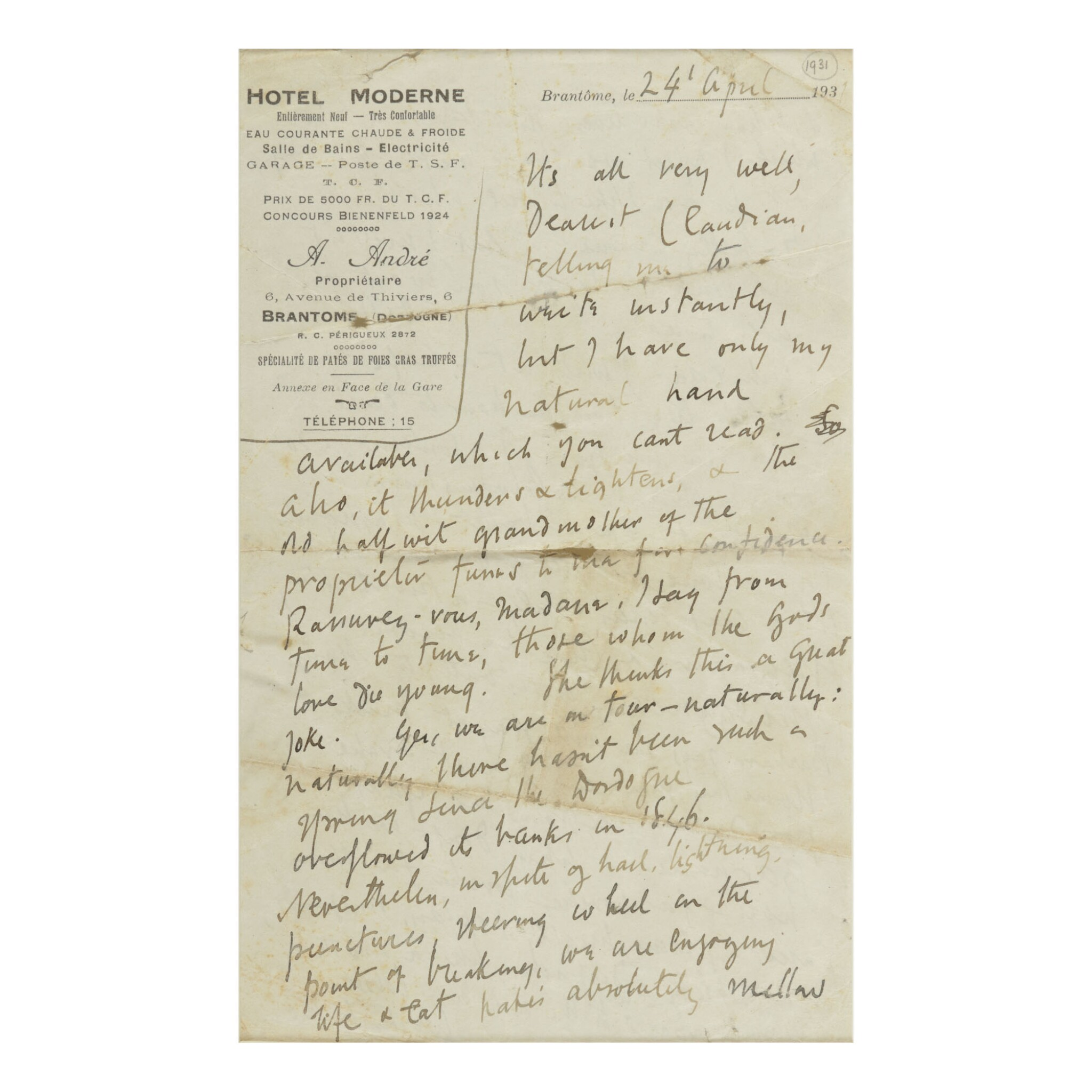 """View full screen - View 1 of Lot 99. VIRGINIA WOOLF   AUTOGRAPH LETTER SIGNED (""""V""""), TO HER NEPHEW QUENTIN CLAUDIAN STEPHEN BELL."""