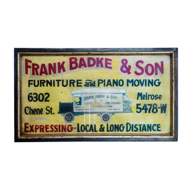 FRANK BADKE AND SON TRADE SIGN, POSSIBLY DETROIT, MICHIGAN, CIRCA 1920-25