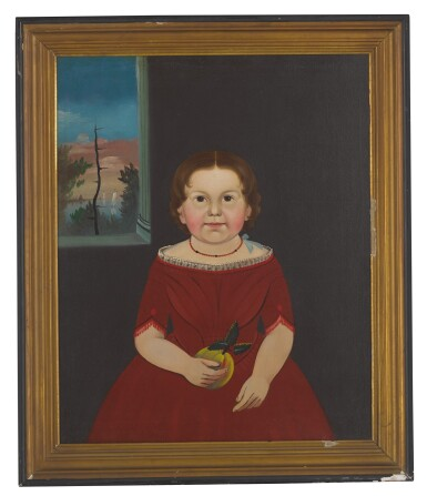 STURTEVANT J. HAMBLEN | PORTRAIT OF A GIRL IN A RED DRESS HOLDING AN APPLE