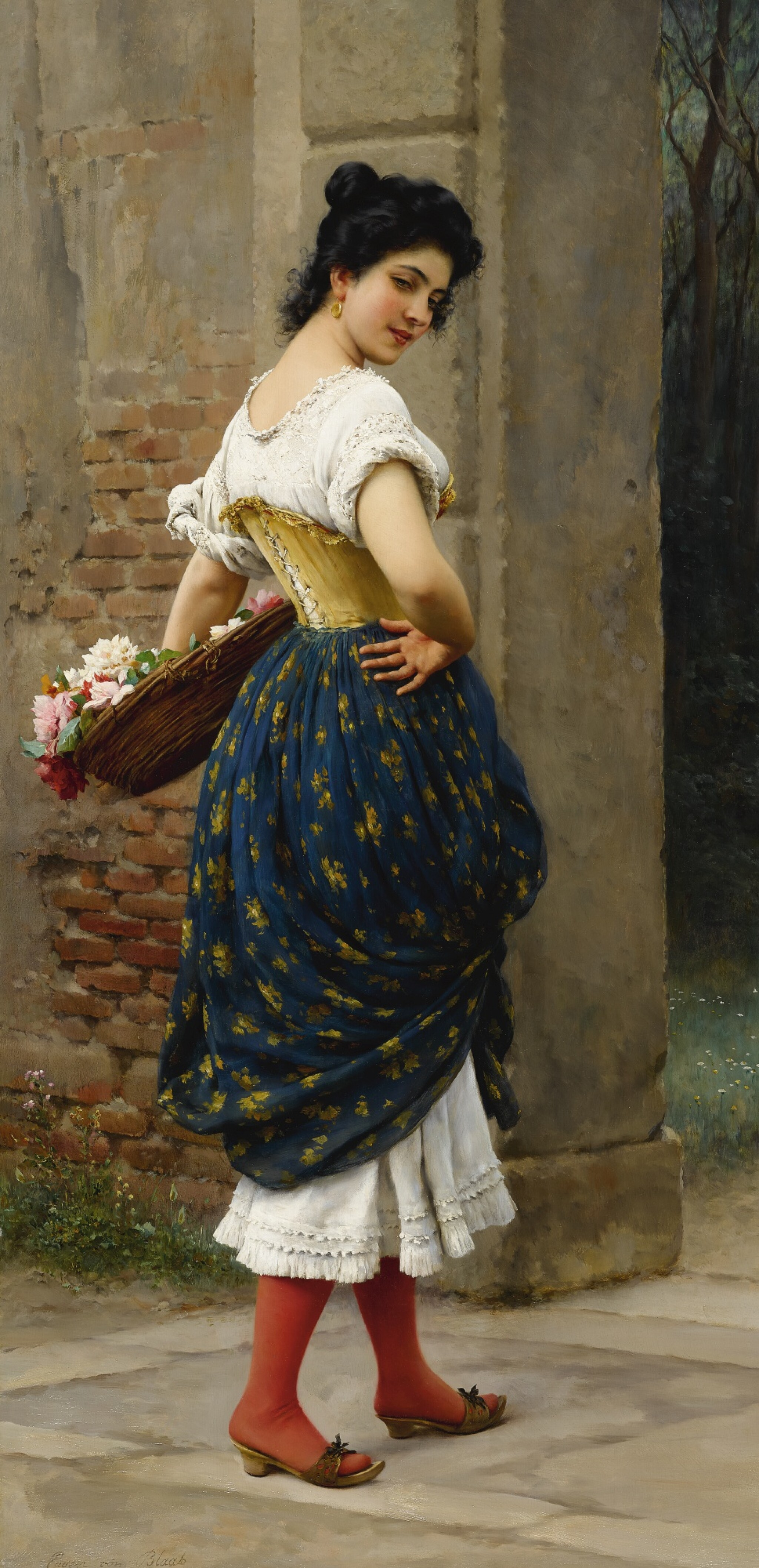 View full screen - View 1 of Lot 780. Eugen von Blaas | A MAIDEN WITH A BASKET OF ROSES.