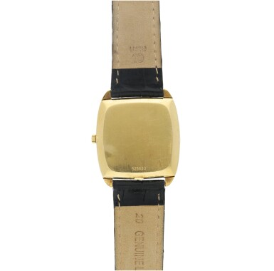 View 5. Thumbnail of Lot 804. REFERENCE 44003 A YELLOW GOLD CUSHION SHAPED AUTOMATIC WRISTWATCH WITH DIAMOND-SET ONYX DIAL, CIRCA 1985.