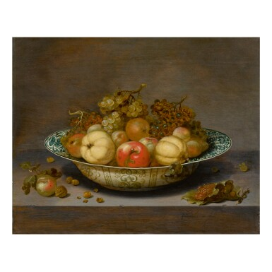 View 1. Thumbnail of Lot 52. JOHANNES BOUMAN | STILL LIFE OF FRUIT IN A KRAAK BOWL, ON A LEDGE   .