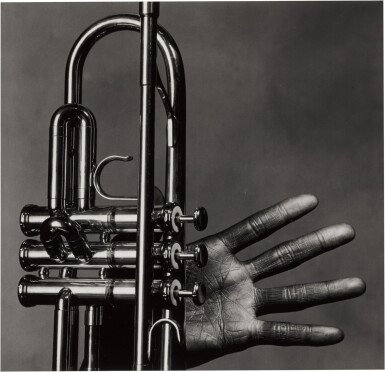 View 1. Thumbnail of Lot 8. 'Miles Davis, Hand and Trumpet, New York' .