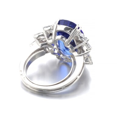 View 3. Thumbnail of Lot 1015. Sapphire and diamond ring.