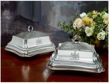 View 1. Thumbnail of Lot 37. A PAIR OF GEORGE III SILVER ENTRÉE DISHES AND COVERS, PAUL STORR, LONDON, 1799.