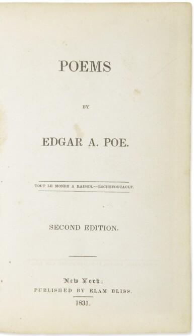 View 1. Thumbnail of Lot 175. POE, EDGAR ALLAN | Poems. New York: Elam Bliss, 1831.