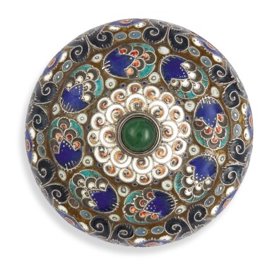 View 1. Thumbnail of Lot 263. A silver and cloisonné enamel bellpush, probably by Feodor Rückert, 1908-1917.