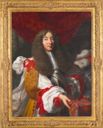 CIRCLE OF LOUIS FERDINAND ELLE THE ELDER | Portrait of a gentleman, half-length, in a gold tunic adorned with red ribbons, standing beside his helmet