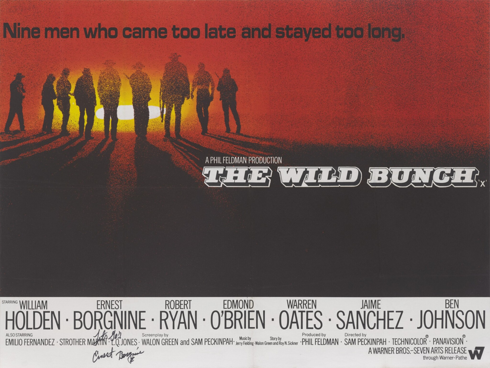 View full screen - View 1 of Lot 267. THE WILD BUNCH (1969) POSTER, BRITISH, SIGNED BY ERNEST BORGNINE .