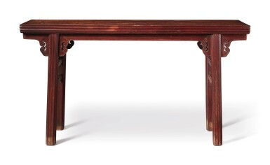 View 3. Thumbnail of Lot 1040.  A BURLWOOD INSET 'TIELIMU' RECESSED-LEG TABLE (PINGTOUAN), QING DYNASTY, 18TH / 19TH CENTURY.