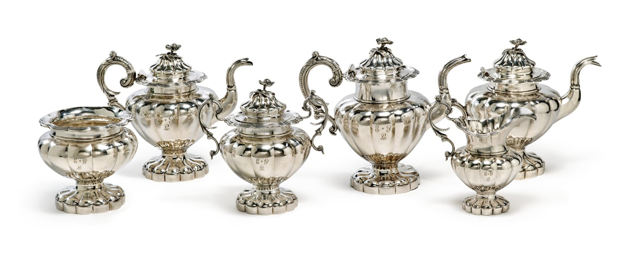 View full screen - View 1 of Lot 412. A Rare American Southern Silver Six-Piece Tea Set, S&B Brower, New Orleans, 1834-1842.