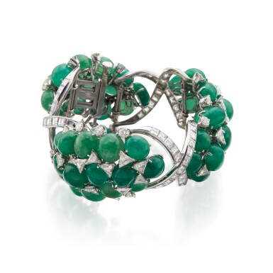 View 3. Thumbnail of Lot 60. David Webb | Emerald and Diamond Bracelet.
