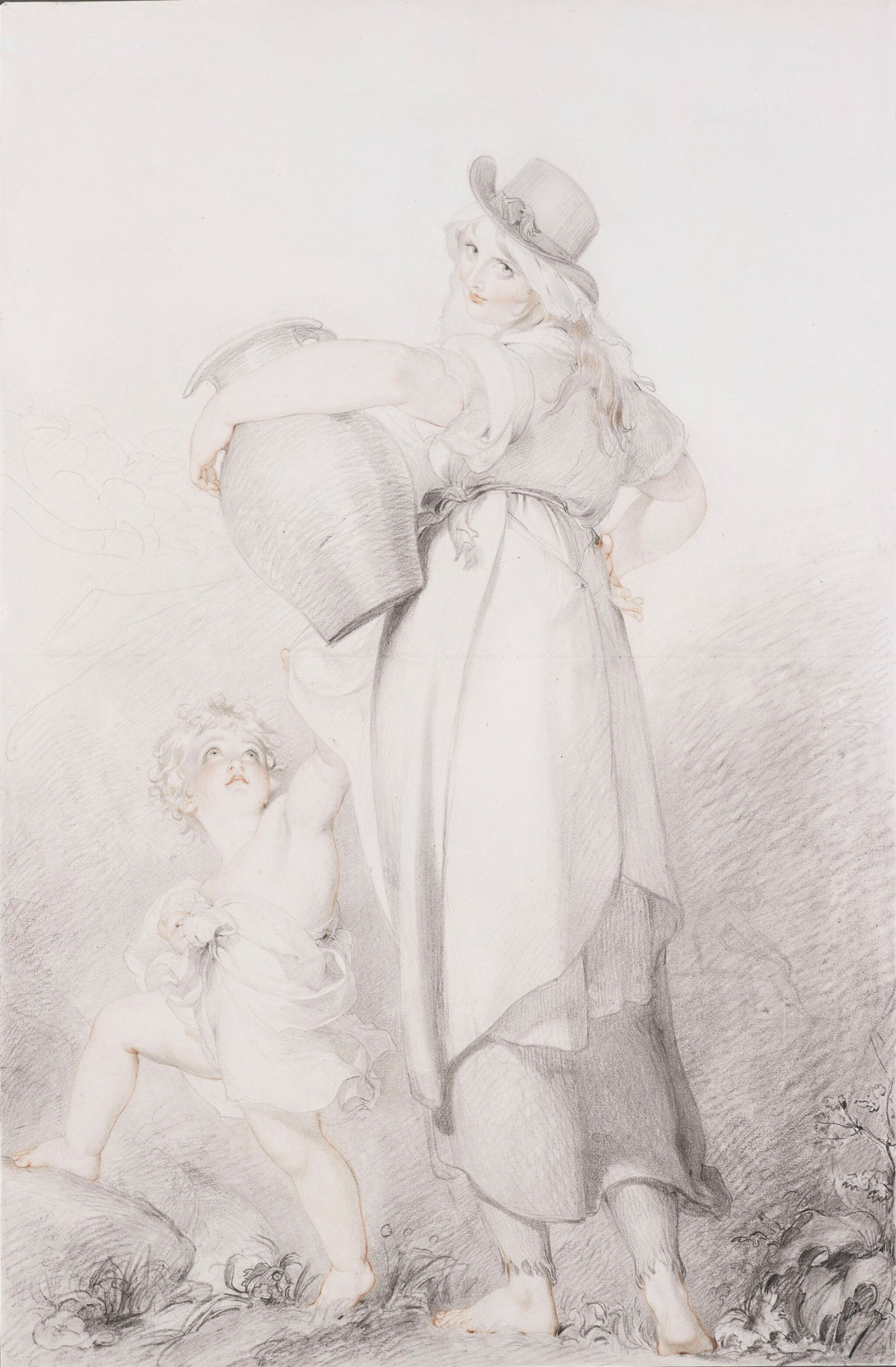 View full screen - View 1 of Lot 4. SIR THOMAS LAWRENCE, P.R.A.   THE BEAUTIFUL WASHERWOMAN.