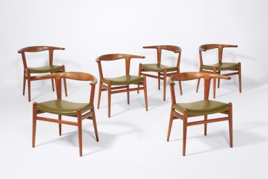 """View 1. Thumbnail of Lot 68. Eight """"Bullhorn"""" Dining Chairs."""