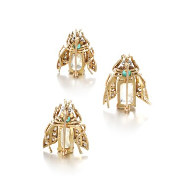 View 3. Thumbnail of Lot 39. Three yellow sapphire, emerald and diamond brooches.