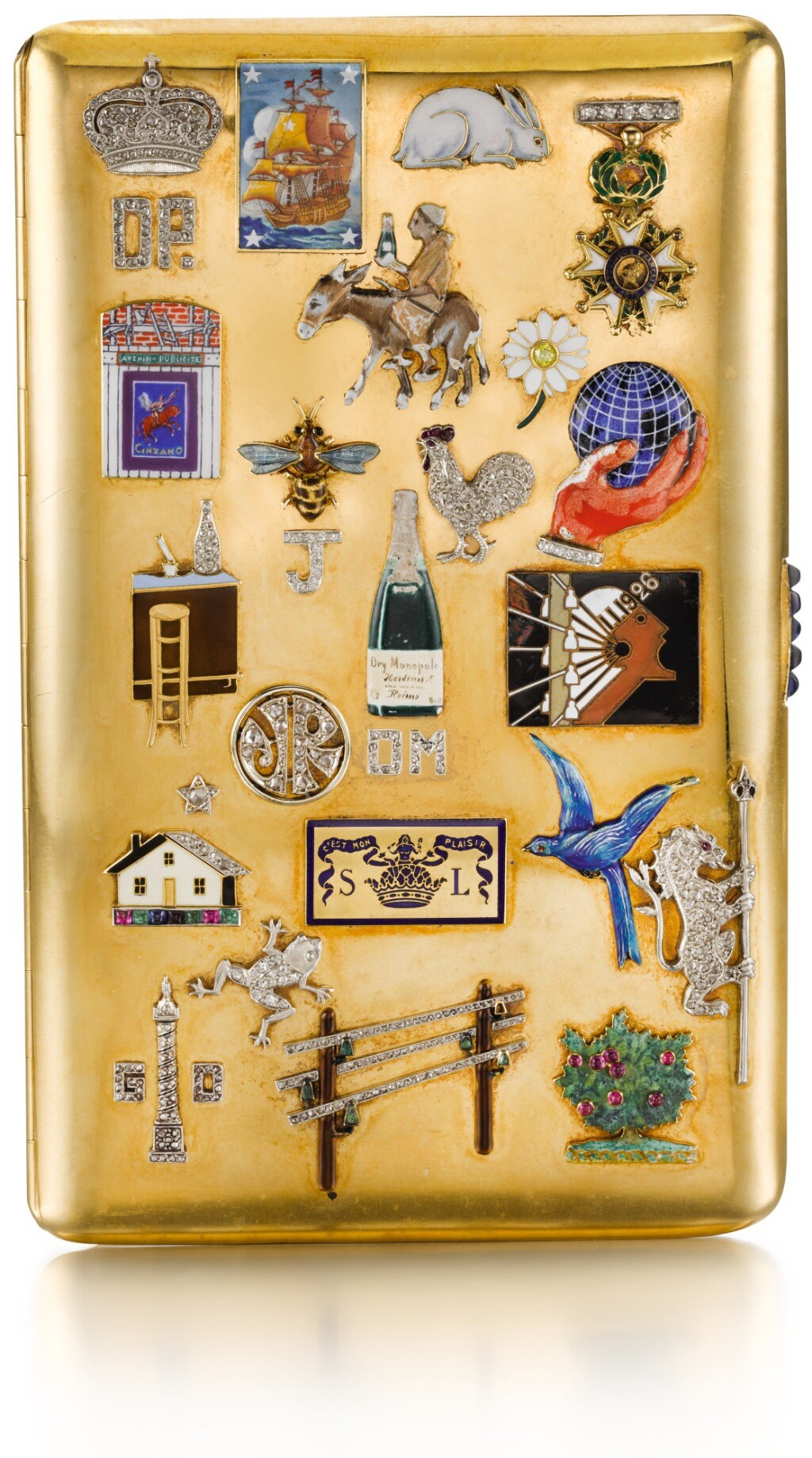 A JEWELLED GOLD AND ENAMEL COMMEMORATIVE CIGARETTE CASE, FRENCH, EARLY 20TH CENTURY