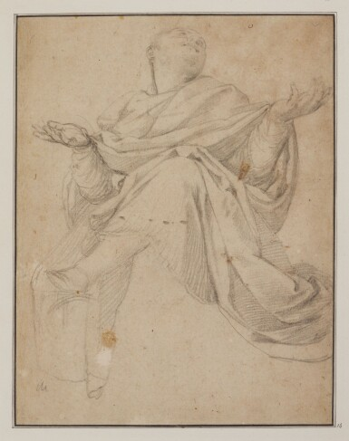 BOLOGNESE SCHOOL, 17TH CENTURY | Study of a draped figure his arms outstretched