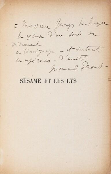 View 1. Thumbnail of Lot 173. La Bible d'Amiens. [Et :] Sésame et les Lys. Les deux exemplaires avec un envoi a.s..