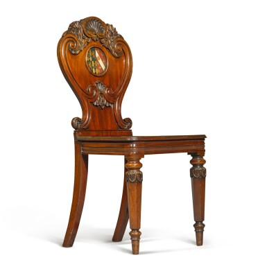 View 4. Thumbnail of Lot 71. A set of six George IV carved mahogany hall chairs, circa 1822, in the manner of Gillows.