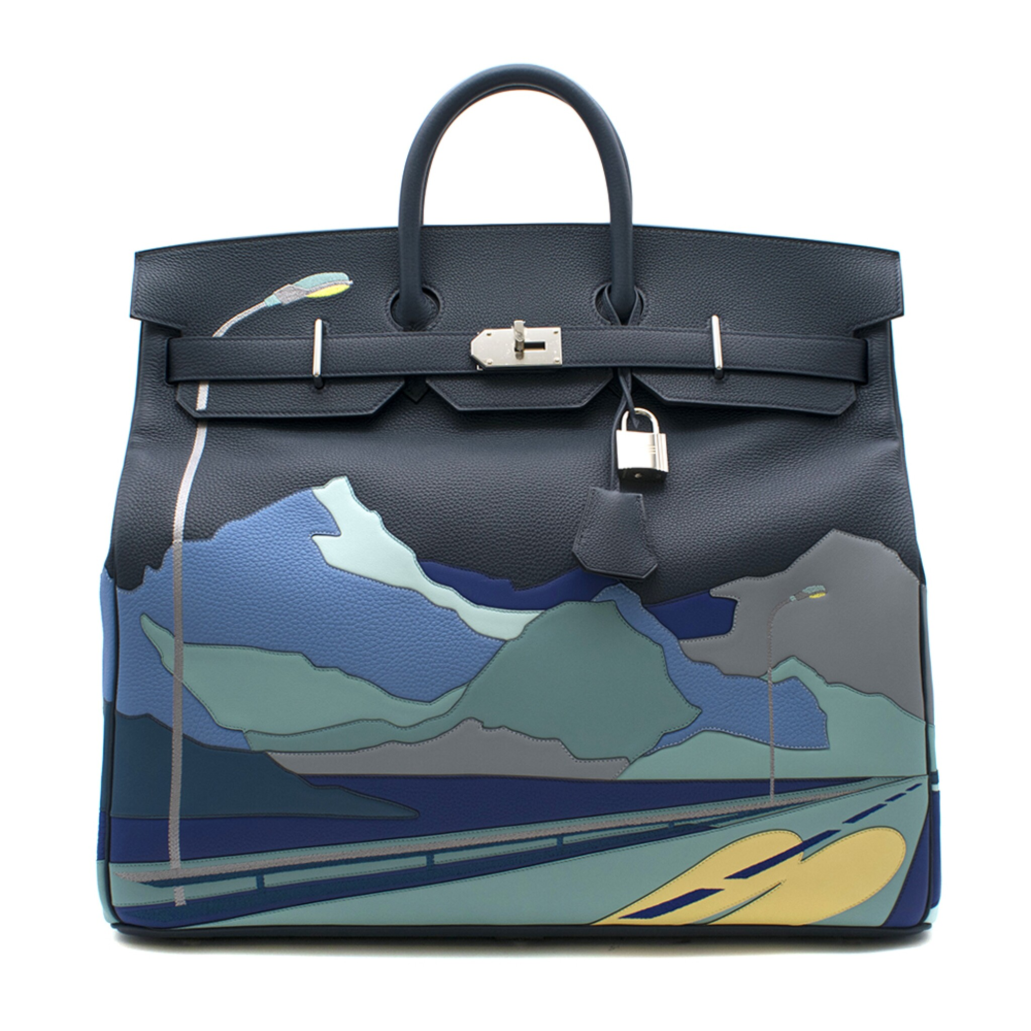 View full screen - View 1 of Lot 108. HERMÈS   BLUE DE PRUSSE LIMITED EDITION ENDLESS ROAD BIRKIN 50 HAUTE Á COURROIERS IN TOGO, SWIFT AND CLEMENCE LEATHER WITH PALLADIUM HARDWARE, 2019.