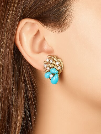 View 2. Thumbnail of Lot 1657. Pair of Turquoise and Diamond Ear Clips | 卡地亞 | 綠松石 配 鑽石 耳夾一對.