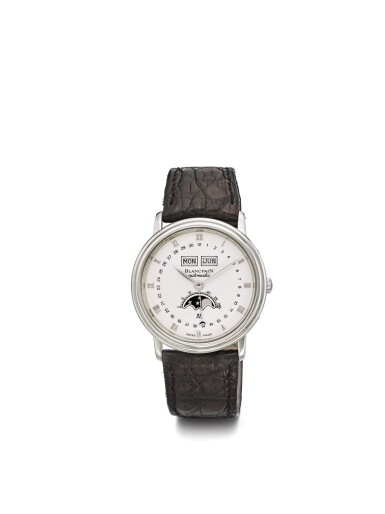 BLANCPAIN | A STAINLESS STEEL AUTOMATIC TRIPLE CALENDAR WRISTWATCH WITH MOON PHASES CIRCA 1990