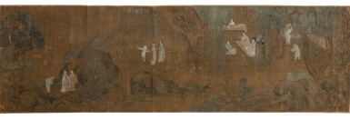 View 1. Thumbnail of Lot 93. Anonyme Les sept sages de la forêt de bambous Dynastie Qing, XVIIIE siècle | 清十八世紀 竹林七賢圖 | Anonymous, Seven Sages of the Bamboo Grove, ink and color on silk, handscroll, Qing Dynasty, 19th century.
