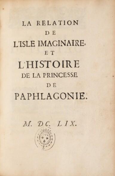 View 2. Thumbnail of Lot 15. MONTPENSIER, duchesse de. La Relation de l'isle imaginaire... 1659. In-8. Maroquin rouge aux armes..