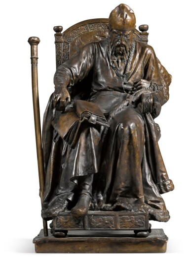 View 1. Thumbnail of Lot 283. Ivan the Terrible: a bronze figure, after the model by Mark Antokolsky (1843-1902).