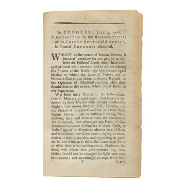 View 1. Thumbnail of Lot 133. The Declaration of Independence | The first book-form printing of the Declaration of Independence.