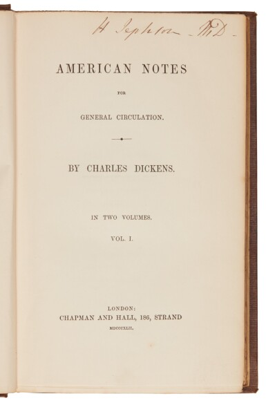 View 2. Thumbnail of Lot 82. Dickens, American Notes for General Circulation, 1842, first edition.