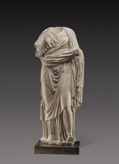 View 1. Thumbnail of Lot 70. A Roman Marble Portrait Statue of a Woman, circa 1st Century A.D..