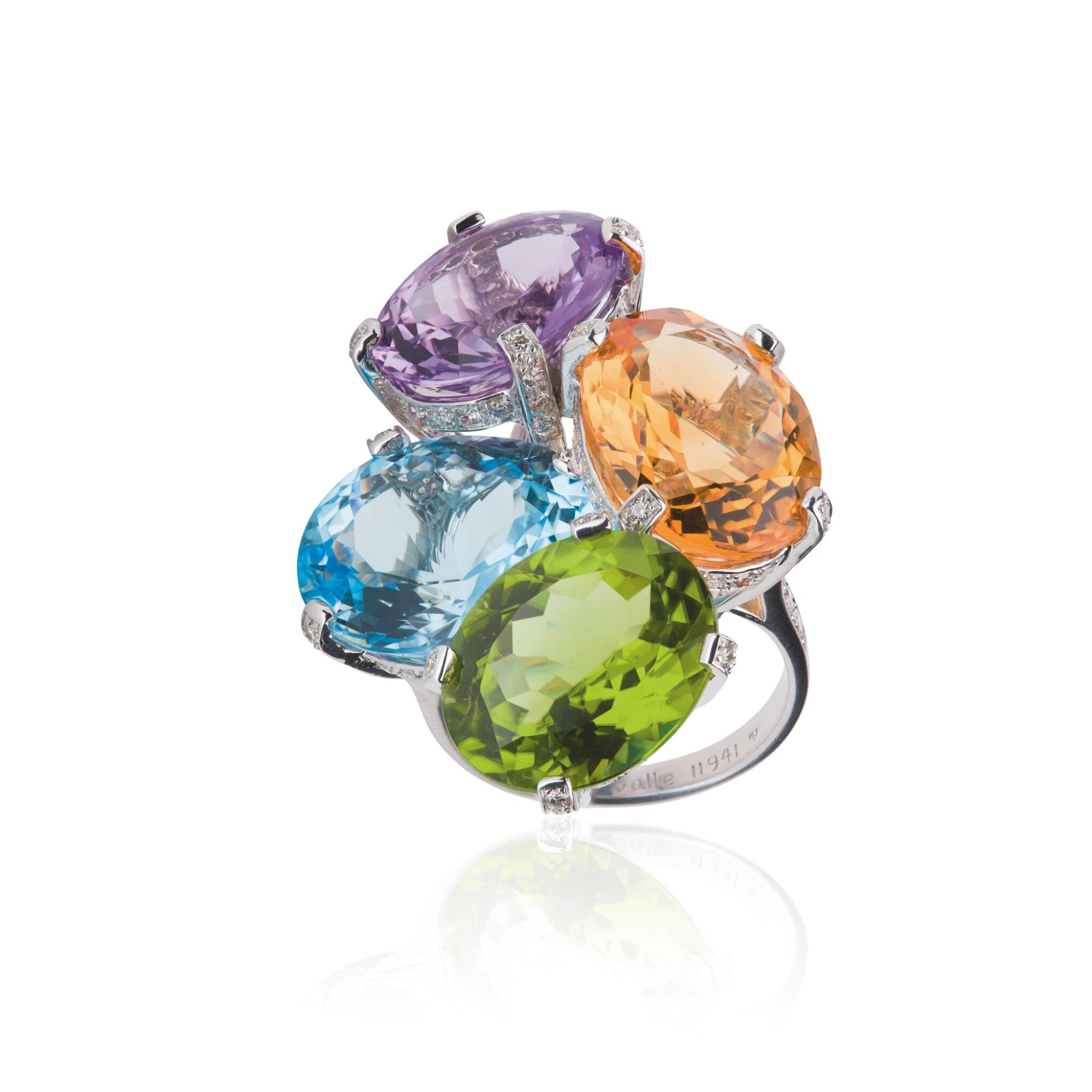 View full screen - View 1 of Lot 15. GEM SET AND DIAMOND RING, MICHELE DELLA VALLE.
