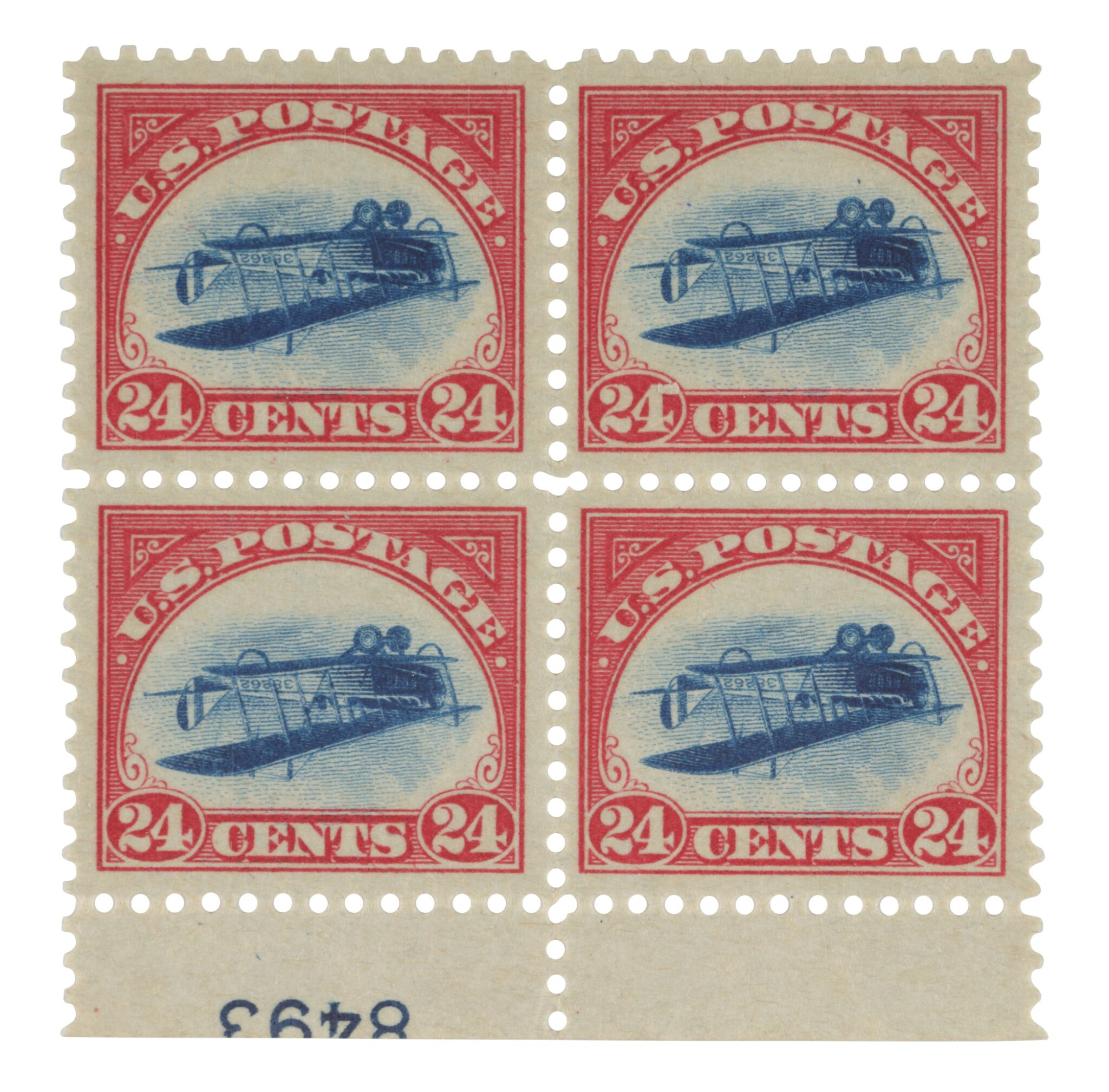 View full screen - View 1 of Lot 2. The Inverted Jenny Plate Block.