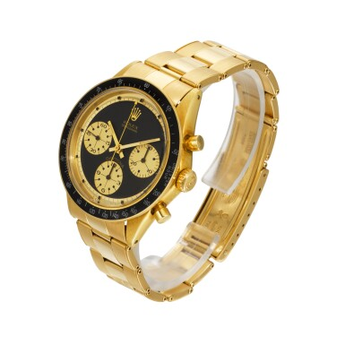 "View 3. Thumbnail of Lot 951. ROLEX |  COSMOGRAPH DAYTONA PAUL NEWMAN ""JOHN PLAYER SPECIAL"", REF 6264   AN EXTREMELY RARE AND OUTSTANDINGLY BEAUTIFUL YELLOW GOLD CHRONOGRAPH WRISTWATCH WITH BRACELET    CIRCA 1969."