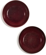A PAIR OF COPPER-RED GLAZED DISHES QIANLONG SEAL MARKS AND PERIOD | 清乾隆 霽紅釉盤一對 《大清乾隆年製》款