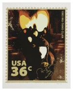 DARIO; [RZA] | 36 Cents Wu-Tang Clan Stamp. #1/36, THE ONLY ONE SIGNED BY BOTH RZA AND THE ARTIST.