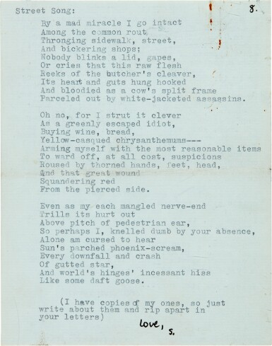 View 5. Thumbnail of Lot 10. Sylvia Plath   Typed letter signed, to Ted Hughes, discussing their poetry, 6 October 1956.